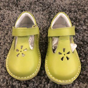 Girls Kid Express Lime Green Leather Velcro Shoes